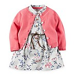 carter's® Size 3M 2-Piece Floral Print Braided-Belt Dress and Cardigan Set in White/Pink