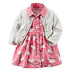 carter's® Size 6M 3-Piece Bird Print Dress, Cardigan, and Diaper Cover Set in Pink/Ivory