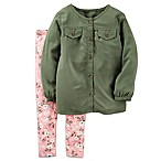 carter's® Size Newborn 2-Piece Button-Down Top and Floral Legging Set in Olive/Pink