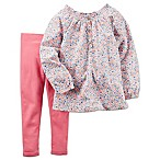 carter's® Newborn 2-Piece Smocked Floral Tunic and Legging Set