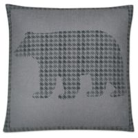 Jack Bear Square Throw Pillow in Grey
