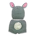 So'dorable Chunky Knit Bear 2-Piece Hat and Diaper Set in Grey