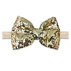 Elly & Emmy Sequin Bow Headwrap in Gold/Ivory