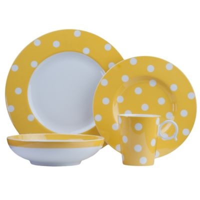 freshness dots 8piece dinnerware set in yellow
