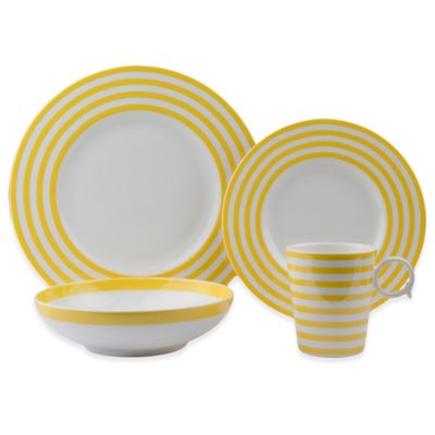 freshness lines 8piece dinnerware set in yellow
