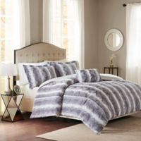 Madison Park Zuri Faux Fur Full/Queen Duvet Cover Set in Grey