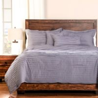 Tattered Full Duvet Cover Set with Comforter Insert in Purple