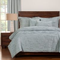 Tattered Full Duvet Cover Set with Comforter Insert in Blue
