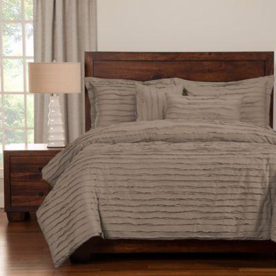 Tattered Full Duvet Cover Set With Comforter Insert In Grey