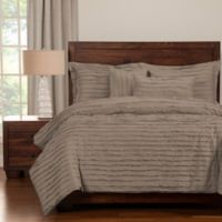 Tattered Queen Duvet Cover Set with Comforter Insert in Grey