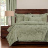 Tattered King Duvet Cover Set with Comforter Insert in Green