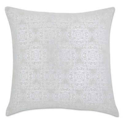 linen metallic bali 20inch square throw pillow in silver
