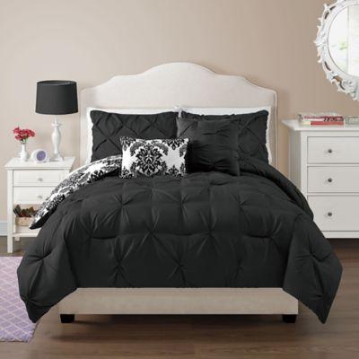 vcny olivia fullqueen comforter set in black