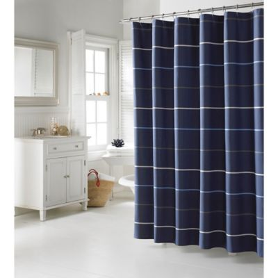 buy navy stripe curtains from bed bath & beyond