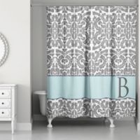 Botanical Leaves Shower Curtain In Grey Blue