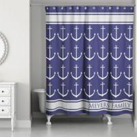 Anchor Rain Shower Curtain In Blue Grey White