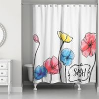Watercolor Flowers Shower Curtain In Red Yellow Blue White