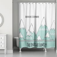 Adventure Mountains Shower Curtain in White/Teal