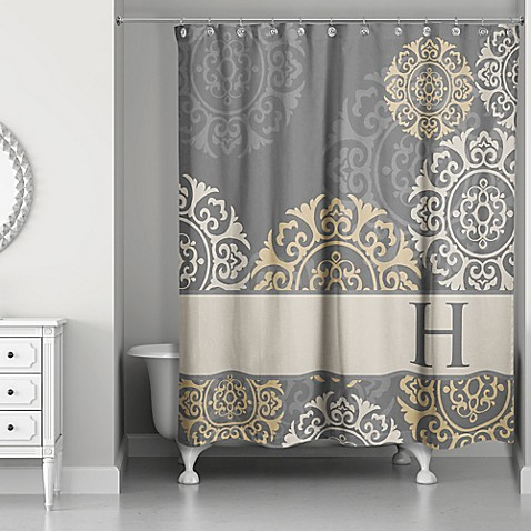 Medallions Shower Curtain In Grey Taupe Gold Bed Bath