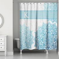Flowering Medallions Shower Curtain in Aqua/White