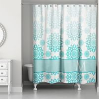 f36fc294776 Floral Medallions Shower Curtain in Aqua/White