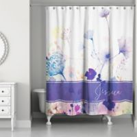Watercolor Botanicals Shower Curtain In Purple White