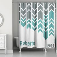Arrow Line Shower Curtain In Green Grey White