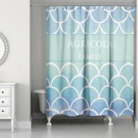 Water Scales Shower Curtain in Blue Ombre