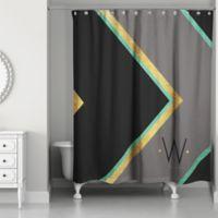 Chevron Class Personalized Shower Curtain in Black