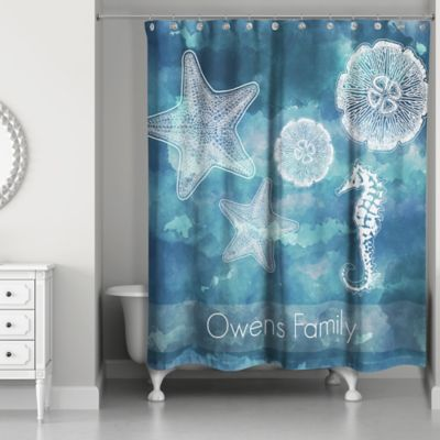 Ordinaire Coastal Life Personalized Shower Curtain In White/Blue