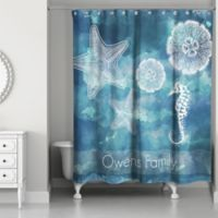 Coastal Life Personalized Shower Curtain In White Blue