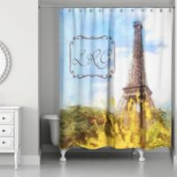 Paris Personalized Shower Curtain In Blue Yellow