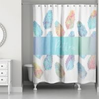 Feather Leaf Watercolor Personalized Shower Curtain in White/Blue