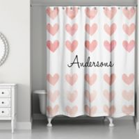 Simple Hearts Personalized Shower Curtain in White/Pink