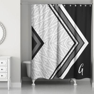 Boho Tribal Custom Shower Curtain In Black Grey White