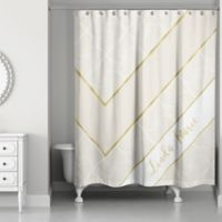 Geo Custom Shower Curtain in Ivory/Gold