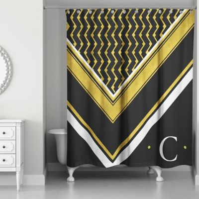 Merveilleux Geo Custom Shower Curtain In Black/White/Gold