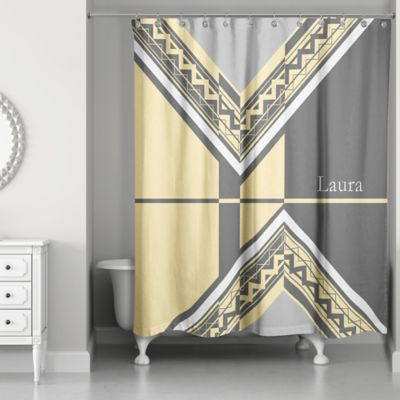Geo Custom Shower Curtain In Grey Yellow