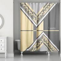 Geo Custom Shower Curtain In Grey Yellow
