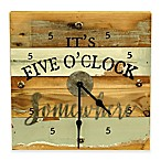 "Sweet Bird It's Five O'Clock Somewhere 12""x12"" Wood Clock in Blue"