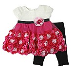 Nannette Baby® Size 6-9M 2-Piece Puff Sleeve Rosette Dress and Legging Set in Fuchsia/Black