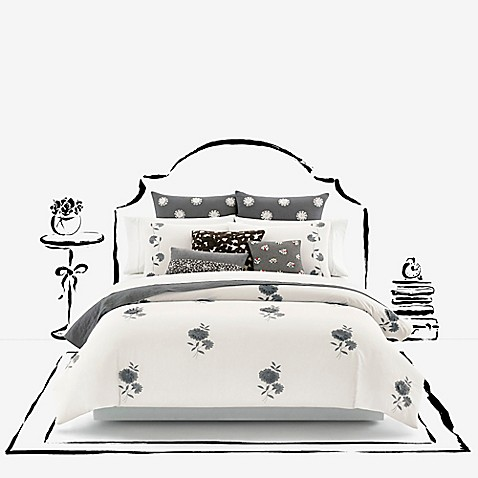 Kate spade new york lacey daisy duvet cover in white for Bed bath and beyond kate spade