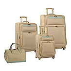 Tommy Bahama® Bahama Mama 4-Piece Expandable Spinner Suitcase Set in Champagne/Light Blue