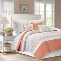 Madison Park Dawn Full/Queen Coverlet Set in Coral