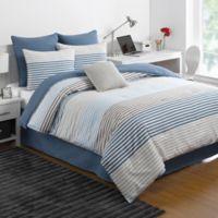 IZOD® Chambray Stripe Reversible Full Comforter Set in Blue