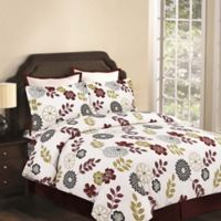 Tribeca Living Floral 170 GSM Printed Flannel Reversible Queen Duvet Cover Set in Blue