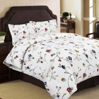 Tribeca Living Floral Garden 170 GSM Printed Flannel Queen Duvet Cover Set in Ivory