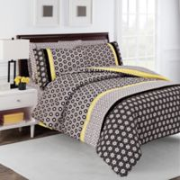 robinzingone Hexagon Reversible King Comforter Set in Taupe/Yellow