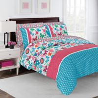 robinzingone Flirty Floral 7-Piece King Comforter Set in Aqua/Pink