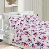 Tribeca Living Rose 200 GSM Printed Flannel Queen Duvet Cover Set in Red